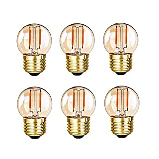 Grensk - G40 Edison LED Filament Mini Globe Light Bulbs 1WEquivalent to 10Watt Incandescent - E26 Screw Base Led Bulbs Ultra Warm White 2200K(Decorative Lighting) Non Dimmable (Amber Glass)