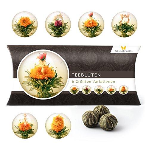 6 Teeblumen Geschenk-Box - Grüntee Variationen