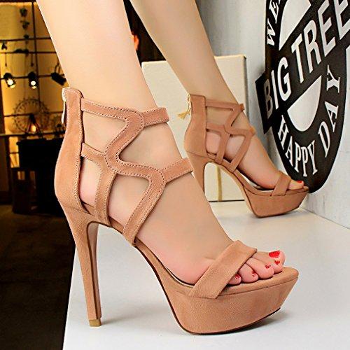 Chaussures Talon Zip OALEEN Sexy Haut Rose Femme Suède Bout Sandales Aiguille Ouvert Plateforme féminin qqFY8z