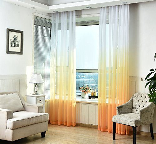 JarlHome Voile Curtains with Grommet Gold Gradient Window Sheer Curtains 2 Panels 52