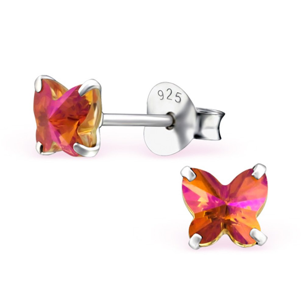 Swarovski Crystal Butterfly Studs Earrings Stering Silver 925 (E24396) (Astral Pink)