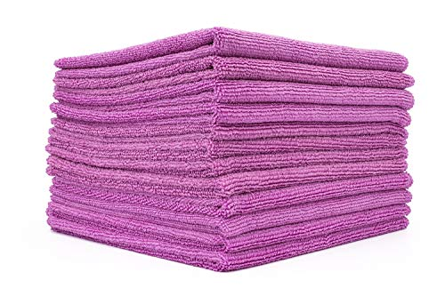 (12-Pack) 16 in. x 16 in. Commercial Grade All-Purpose Microfiber Highly Absorbent, LINT-Free, Streak-Free Cleaning Towels - THE RAG COMPANY (Lavender Purple)