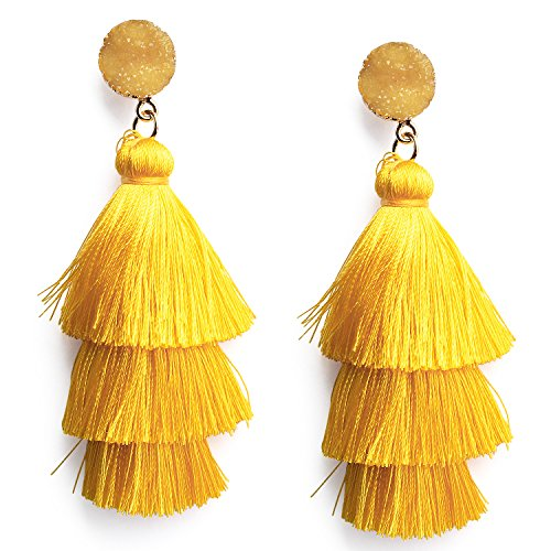 Women's Statement Gold Yellow Tassel Earrings with Crystal Stone Studs Long Tassel Dangle Drop Earrings