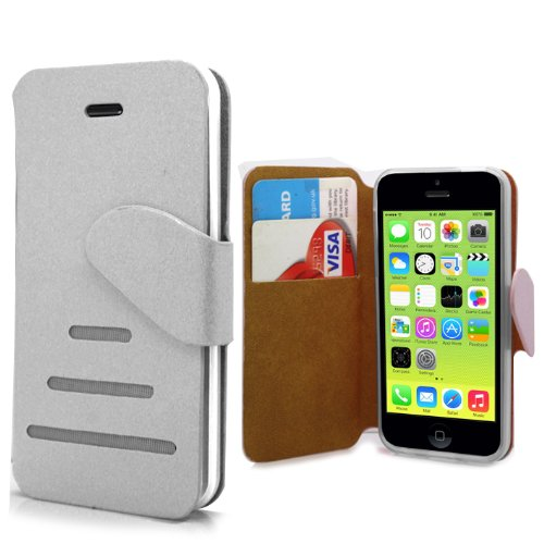 Accessory Master Wallet Buch-Stil pu Shell Ledertasche für Apple iPhone 5C weiß