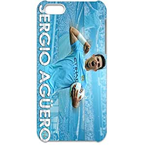 Manchester City FC Handsome Exceiting Sergio Aguero Plastic Hard 3D Case Cover for Iphone 5C