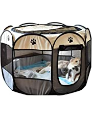 PET PLAYPEN Puppy Dog CAT Play Pen Crate CAGE Enclosure Tent 8 Panel Portable (S, Grey)