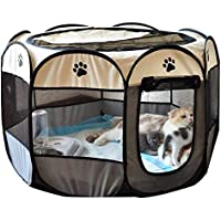 PET PLAYPEN Puppy Dog CAT Play Pen Crate CAGE Enclosure Tent 8 Panel Portable (S, Pink)