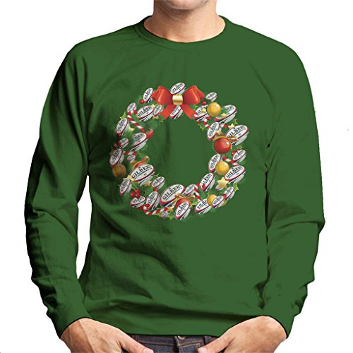Coto7 Christmas Rugby Union Ball Wreath Men's Sweatshirt (Christmas Rugby Jumper)