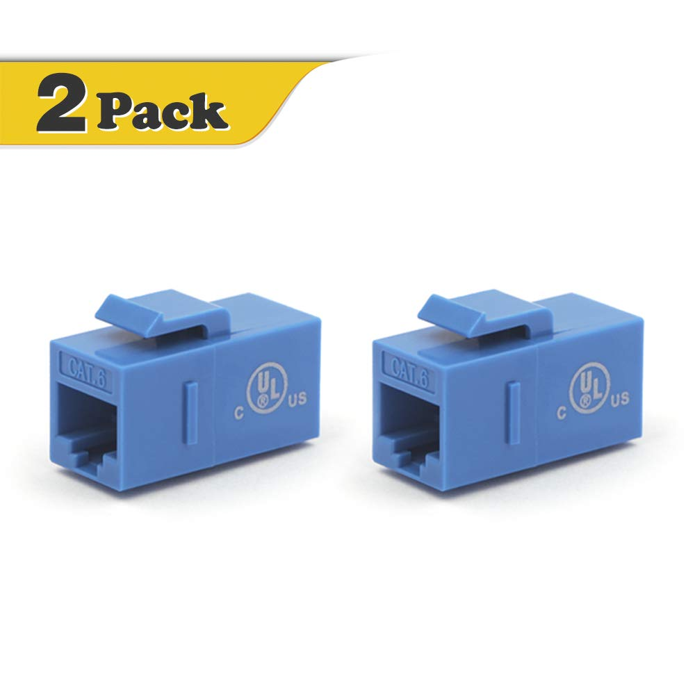 VCE [UL Listed] CAT6 Keystone Coupler, 2-Pack RJ45 Female to Female Insert Coupler, UTP Keystone Inline Coupler(Blue) M226BL2P-CA