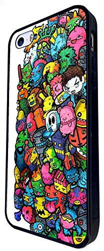 990 - Cool Fun Cute Doodle Scary Cartoon Colourful Monsters Funny Illustration Zombie Alien Hero Robot Kawaii Bomb Design iphone SE - 2016 Coque Fashion Trend Case Coque Protection Cover plastique et
