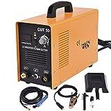 Goplus CUT-50 Electric Digital Plasma Cutter Inverter 50AMP 110-220V Dual Voltage Welder Cutting with Free Mask (Yellow)