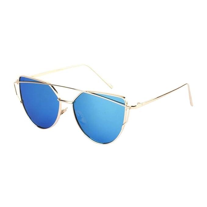 0e7d185fd607b7 Ularma Damen Twin-Träger Vintage Classic Metallrahmen Sonnenbrille  Katzenaugen Brille Reflektierenden Spiegel (Blue(