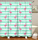 Pink Flamingo Shower Curtain Hooks LIVILAN Pink Flamingo Shower Curtain Set with 12 Hooks Decorative Bathroom Accessories Elegant Curtains for Home Decoration 70.8