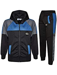 Kids Girls Boys Tracksuits Mesh Hooded Top & Bottom School Sports Jogging Suits