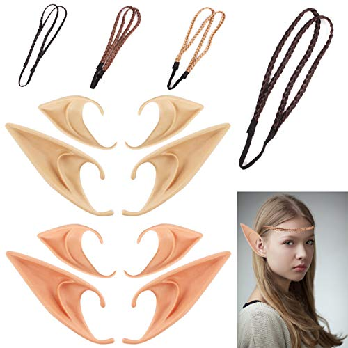 Anime Dress Up Halloween (4 Pair Elf Ears Goblin Ear Tips Dress Up Cosplay Anime Costume Halloween Party Props Masquerade Accessories + 4pcs Hair Braids)