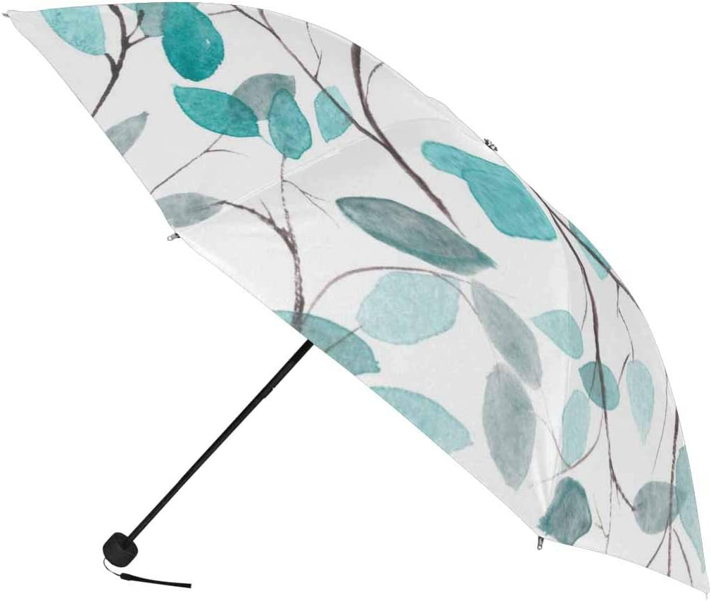 InterestPrint Custom Watercolor Floral Blooming Anti Sun UV Foldable Travel Compact Umbrella