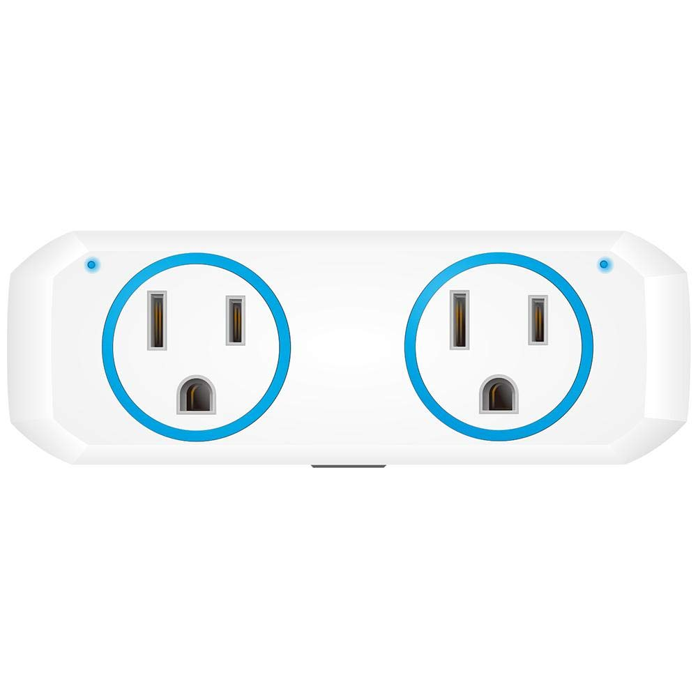 IMSHI 10A/1200W Wi-Fi Smart Plug, Dual Outlet Mini Socket with Separated Remote Control,Timing Switch with Energy Monitoring-Compatible with Alexa and Google Home,No Hub Required by IMSHI