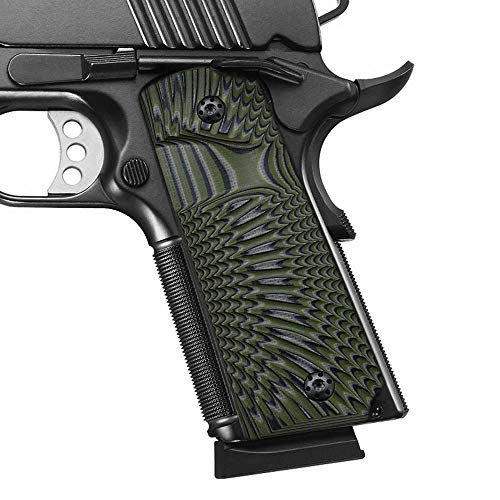 Cool Hand 1911 Full Size G10 Grips, Screws Included, Big Scoop, Ambi Safety Cut, Sunburst Texture, OD/Black