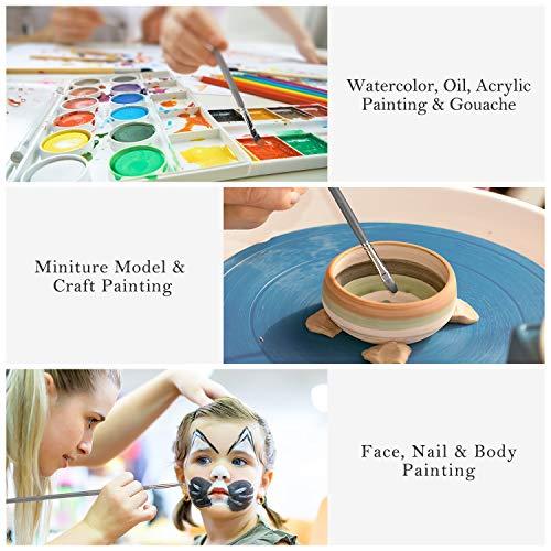 Art Paint Brushes Set 15 Tamaños Kit de pincel de pintura profesional para acrílico Acuarela Gouache al óleo y lienzo Pintura 16PCS con estuche para niños, adultos, artistas.