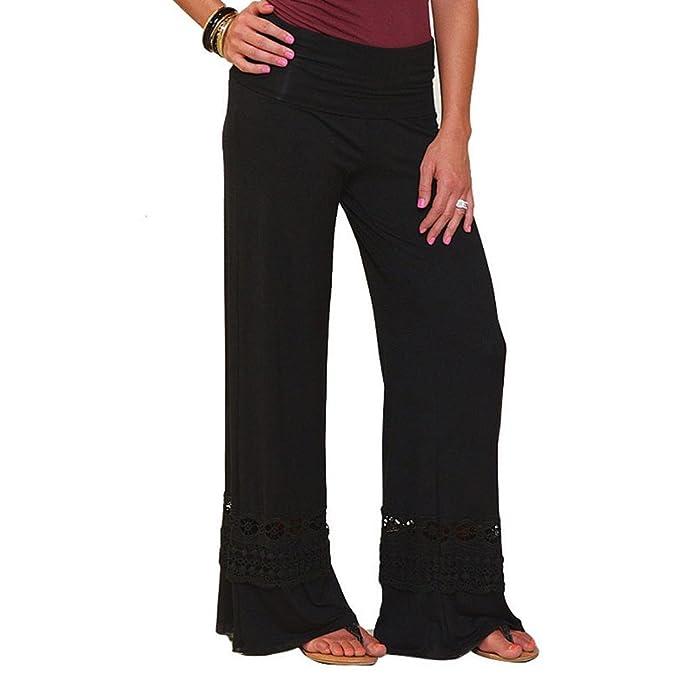 Amazon.com: Fanteecy - Pantalones largos de encaje para ...