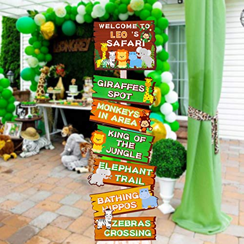 Safari Jungle Animals Party Signs Wild Animals Welcome Signage Zoo Animals Birthday Party Baby Shower Yard Decorations Photo Props Cutouts Set of 7 -