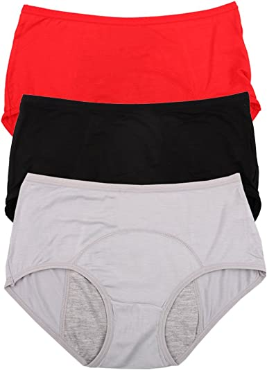 Bamboo Viscose Fiber Brief Menstrual Leakproof Panties 3 Pack Black,Red,Grey US Size XS/4