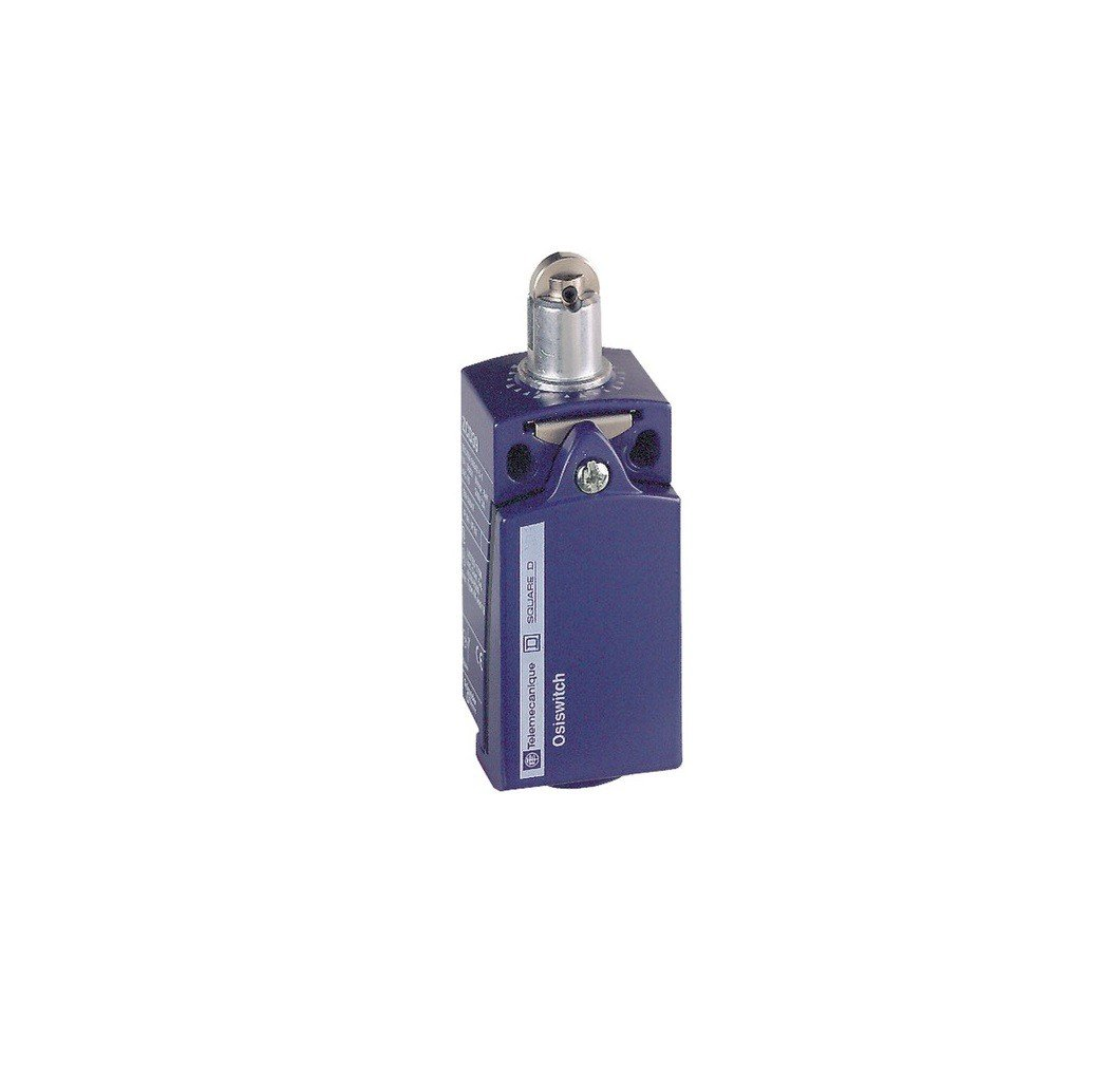 Schneider Electric XCKD2102P16 ex OsiSwitch Métal Interrupteur de position format standard, poussoir à galet acier, tête de piston, 1NC+1NO, brusque, M16 poussoir à galet acier tête de piston