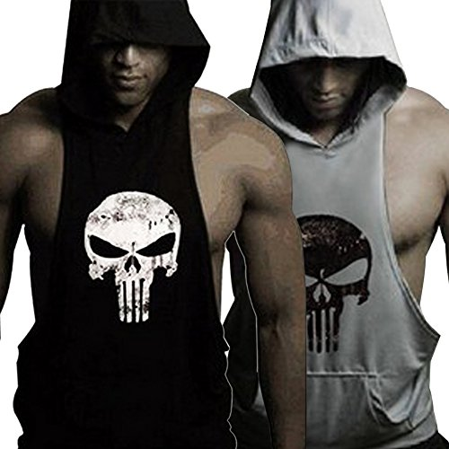 Gym Sleeveless - GZXISI Mens Skull Print Stringer Bodybuilding Gym Tank Tops Workout Fitness Vest (Large, 2 Pack:Black Hoodie,Gray Hoodie)