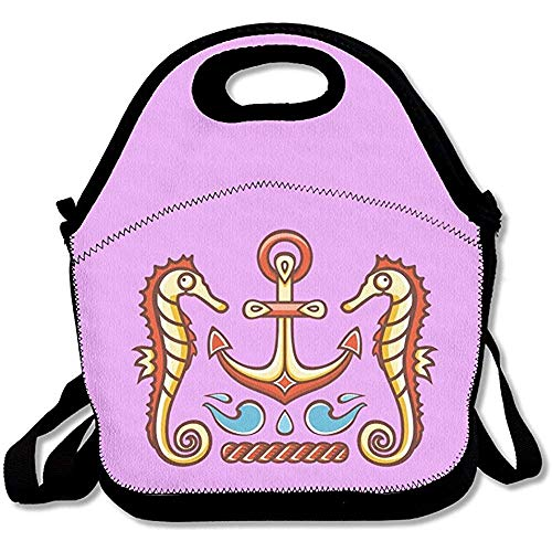 Emmwhite Seahorse Anchor Colorful ScribblesLunch Bag Kids Lunch Bag Lunch Box Food Bag Cool ()