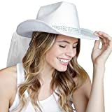 Country Western Bling Rhinestone band White Hat with White Veil - Cowgirl Bachelorette Party or Bridal Shower Accessory