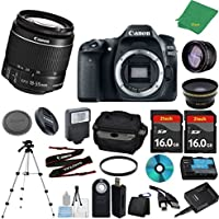 Canon EOS 80D Camera with 18-55mm IS STM + 2pcs 16GB Memory + Case + Card Reader + Tripod + Starter Set + Wide Angle + Telephoto + Flash + Filter - International Version