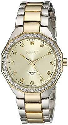 August Steiner Women's AS8044TTG Diamond & Crystal Accented Swiss Quartz Two Tone Bracelet Watch