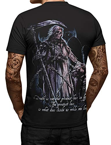 Swag Point Hip Hop T-Shirt - Latino Cholo Biker Original Graphic t Shirts (L, Death Angel-BLK) -