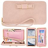Women Phone Clutch Wallet, TraderPlus Multi-purpose Long Style Leather Clutch Handbag Bow-Knot Purse Cellphone Case for iPhone 7/7Plus/6s/6s Plus/Galaxy S8/S7/S7 edge Pink