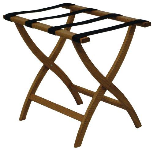 Oak Luggage Rack (Folding Solid Oak Deluxe Luggage Rack w Four Support Straps (Medium Oak with Black Webbing))