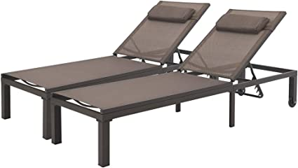 Curved Design Brown All Weather for Patio Crestlive Products Aluminum Adjustable Chaise Lounge Chair and Table Set Outdoor Five-Position Recliner Yard Pool Beach