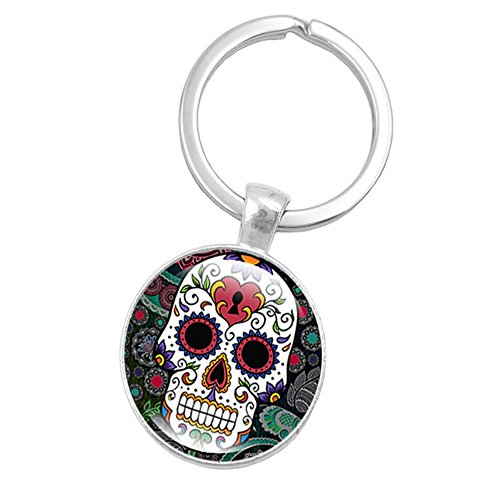 Fan-Ling Skeleton Skull Time Gemstone Gem Metal Key Holder, Keychain,Key Ring, Key Chains,Cell Phone Chain,Halloween Pendant,Bag Pendant Car Accessory,Mystic Decor Ornaments (E)