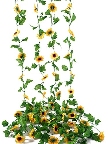 BEFINR 4 Pack 7.8FT Artificial Sunflower Vine Hanging Sunflower Garland Silk Flowers with Garden Craft Art Party Home Wedding Decor