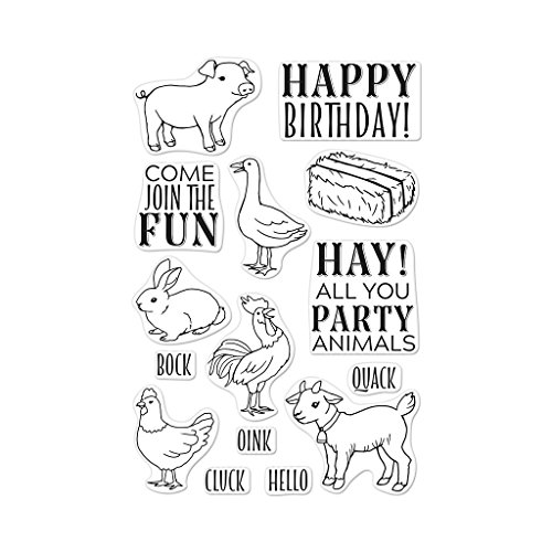 Hero Arts CM295 Clear Stamp Set, Hay Party Animals, 4