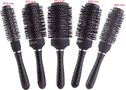 Round Thermal Brush Set, Professional Nano Ceramic & Ionic Barrel Hair Styling Blow Drying Curling Brush, 5 Different Sizes (Hair Brush Sets)