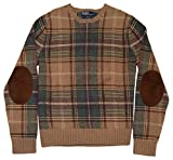 RALPH LAUREN Polo Mens Cashmere Suede Elbow Sweater Plaid Brown Beige Green XL