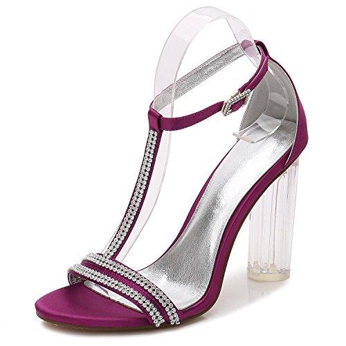 L@YC F-2615-11 Womens Wedding Prom Damen Braut Party High Heel Klassische Pumps Gericht Schuhe Größe Purple