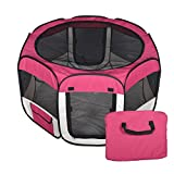 New Small Burgundy Pet Dog Cat Tent Playpen Exercise Play Pen Soft Crate T08