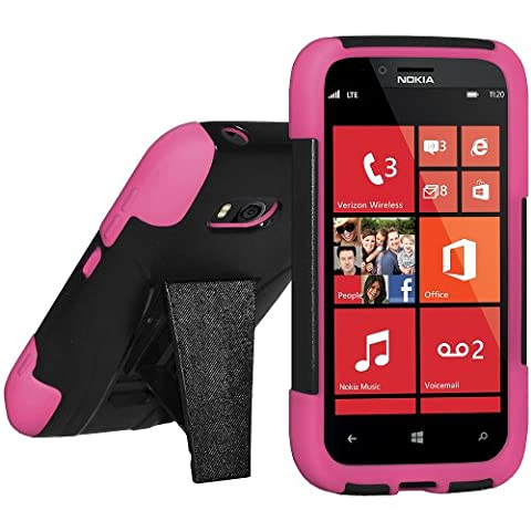 Amzer AMZ95390 Double Layer Hybrid Case with Kickstand for Nokia Lumia 822 - 1 Pack - Retail Packaging - Hot Pink/ (Nokia Lumia 822 Jelly Case)