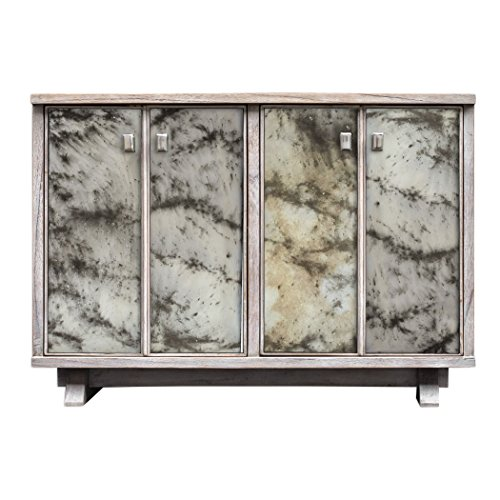 Antiqued Mirrored Mid Century Moder Console Cabinet | 4 Door Entertainment Gray