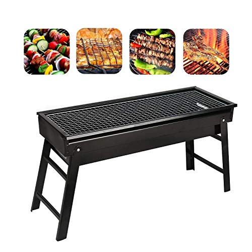 Barbecue Charcoal Grill, Stainless Steel, Folding Charcoal Grill, Portable BBQ Grill Tool for Outdoor Camping Hiking Cooking Picnics