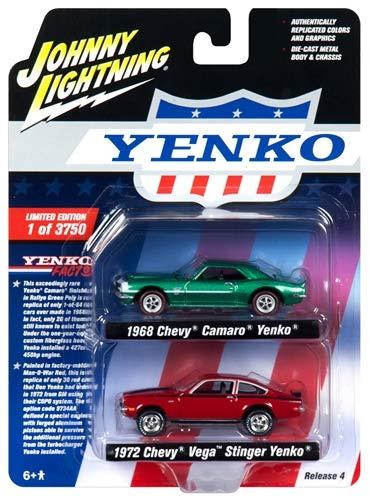 Camaro Yenko (1968 Chevrolet Camaro Yenko Metallic Green and 1972 Chevrolet Vega Stinger Yenko Red 2 Piece Set Limited Edition to 3,750 Pieces Worldwide 1/64 Diecast Model Cars by Johnny Lightning JLPK005-YENKO)