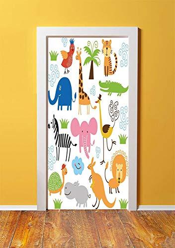 Animal 3D Door Sticker Wall Decals Mural Wallpaper,Cute Set of Giraffe Elephant Zebra Turtle Kids Nursery Baby Themed Cartoon Comic Print,DIY Art Home Decor Poster Decoration 30.3x78.14491,Multi