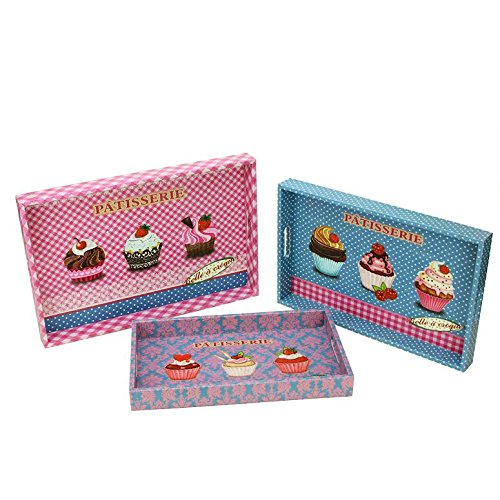 Northlight Decorative Patisserie and Cupcakes Wooden Rectangle Serving Tray, Set of 3 Pink 3 Piece