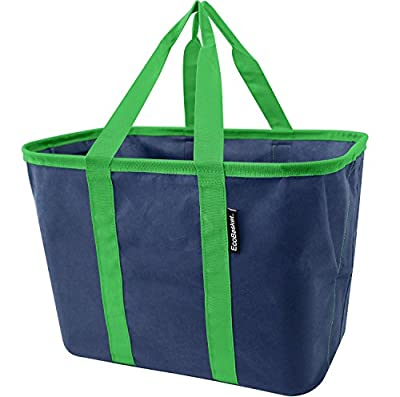 CleverMade EcoBasket 20 Liter Reusable Tote Bag with Reinforced Bottom: Collapsible Grocery Shopping Basket, 3 Pack